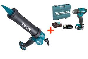 Акк пистолет для герметика Makita CG100DZA + акк шуруповерт DF333DWYE + 2 акб 12 V 1.5 Ah + з/у + кейс