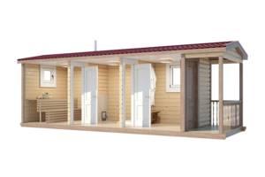 Баня деревянная мобильная 6х2,35