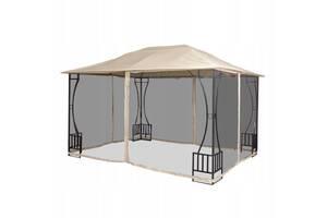 Беседка альтанка садовая с москитной сеткой шатер 3х4 м Garden Sativa Бежевый (rs_SM0023)
