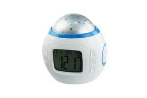 Годинник-музичний проектор зоряного неба Supretto Білий (C245)