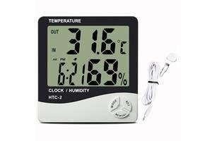 Часы настольные с гигрометром и термометром HTC-2 с выносным датчиком ( код: IBW579O )