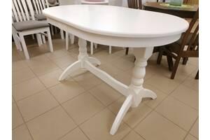 Деревяний стіл кухонний розкладний 120х80+40 овальний на кухню буковий