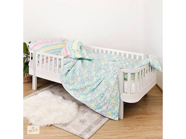 продам Детская полуторная сменная постель Twins Love хлопковая в кроватку, 4 элемента, мятная бу в Киеве