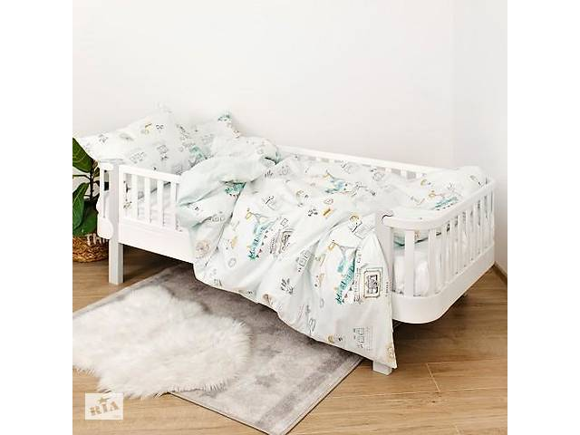 купить бу Детская полуторная сменная постель Twins Paris хлопковая в кроватку, 4 элемента, мятная в Киеве