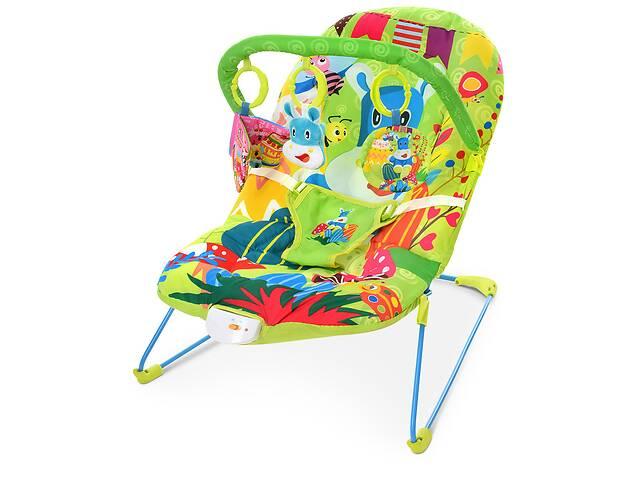 купить бу Детская шезлонг-качалка с подвесками, музыкой и вибрацией для ребенка с рождения 303-5, цвет зеленый в Одессе