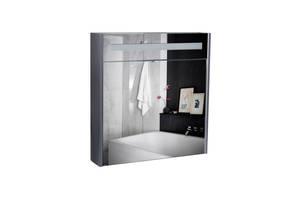 Дзеркальна шафа підвісна Qtap Robin 700х730х145 Graphite з LED-підсвічуванням QT1377ZP7002G
