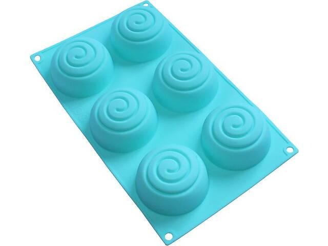 продам Форма-планшет силиконовая Спираль для евродесертов выпечки кексов и маффинов 29.5х17.5см 6 ячеек (psg_HH-976) бу в Киеве