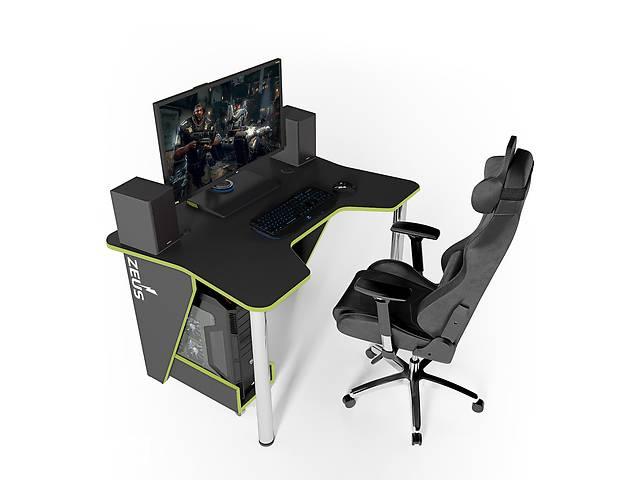 продам Геймерский игровой компьютерный прямой стол ZEUS™ / ЗЕУС™  IGROK / ИГРОК 3L с LED подсветкой Черный / Зеленый бу в Киеве