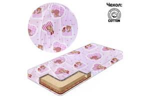 "Гр Матрас кокос - поролон - гречка - хлопок №1 - ""Мишка, сердечки маленькие"" 15170 цвет розовый ТМ Беби-Текс"