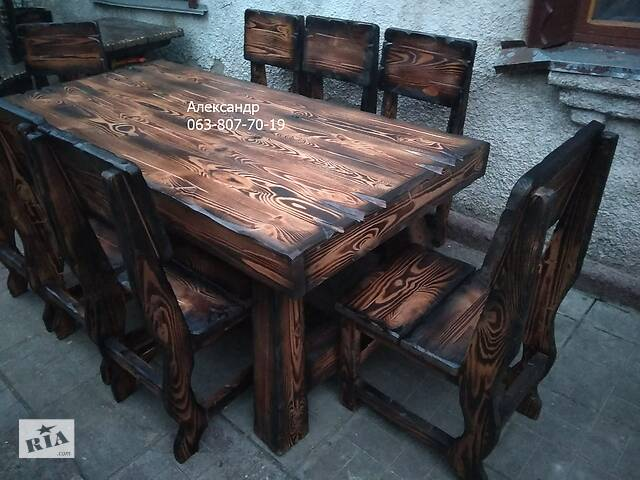 бу Комплект мебели под старину №8 Охотничий (стол, стулья) для бани, сада в Житомире