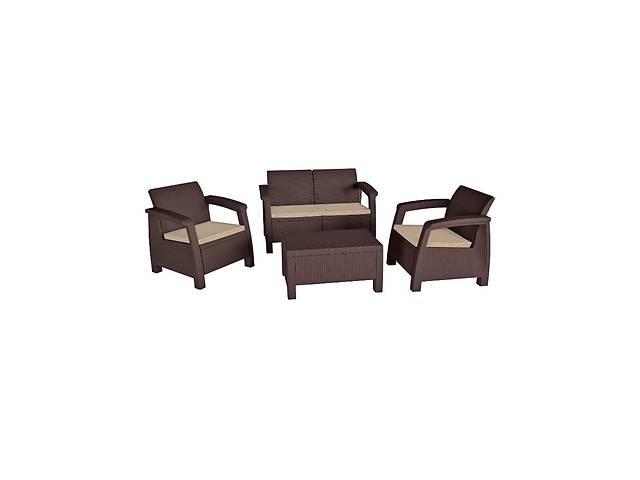 купить бу Комплект набор мебели для сада Keter Bahamas Set из искуственного ротанга и пластика (стол + 2 кресла + диван) в Киеве