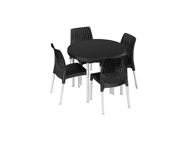 купить бу Комплект набор мебели для сада Keter Jersey Set из искуственного ротанга и пластика (стол + 4 стула) в Киеве