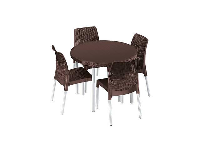 бу Комплект набор мебели для сада Keter Jersey Set из искуственного ротанга и пластика (стол + 4 стула) коричневый в Киеве
