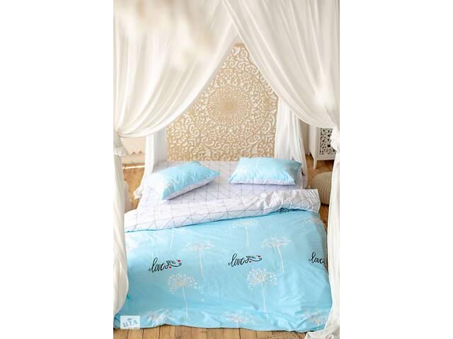 купить бу Комплект постельного белья Prestige Gold Love бело-голубой полуторный SKL29-250674 в Харкові