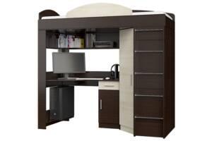 Кровать чердак 80х190 со шкафом и столом (Комби Венге темный+Дуб молочный)
