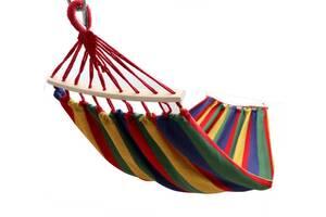 Мексиканский тканевый гамак с деревянной перекладиной подвесной 200х80 см Amazonas 6014 для туризма и дачи (par_GAMAK...