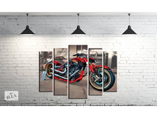 купить бу Модульна картина на полотні ProfART SM5-m1 120 х 80 см Мотоцикл (hub_jCUB14708) в Одесі