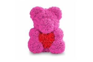 Мишка из роз Zupo Crafts 40 см Розовый (1116971387119)