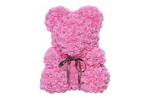 Мишка из искусственных 3D роз в подарочной упаковке 40 см розовый SKL11-140101