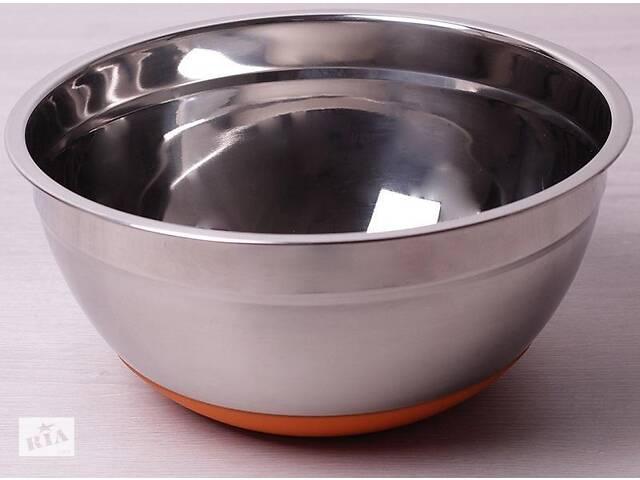 купить бу Миска стальная Kamille Labro d 24х11 см c силиконовым дном оранжевая (psg_KM-4349) в Киеве