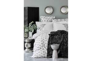Набір постільної білизни з пледом Karaca Home - Brave silver 2020-1 євро 200х220 см Срібло