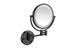 Настенное косметическое зеркало в ванную с LED подсветкой Art Design черное