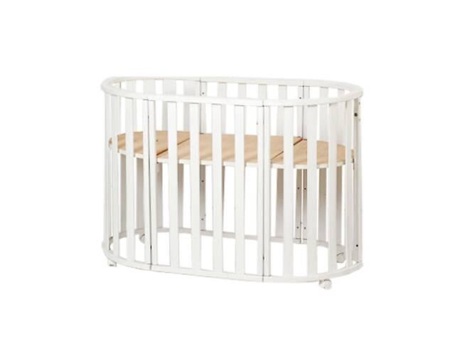 Овальная детская кроватка-трансформер с плоской рейкой Twins Cozy 170х70, белая. Подарок для грудничков.- объявление о продаже  в Киеве