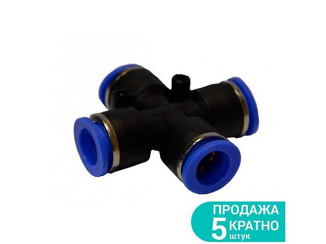 Пневматический быстросъемный соединитель цанговый (Х-образный) Ø12*12*12*12мм Sigma 7026621