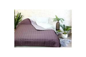 Покрывало одеяло легкое двухстороннее Viluta Дуэт 210x220 стеганое микрофибра Евро Сливовый SKL53-276566