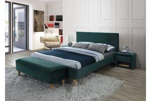 Полуторне ліжко Azurro Velvet 140X200 Зелений