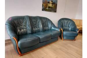 Кожаный 3-местный диван с креслом, магазин мебели из Европы