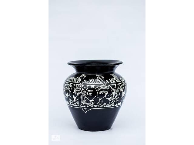 бу Ваза декоративная черно-белая BST 30 см керамическая с лепкой 530321 в Киеве