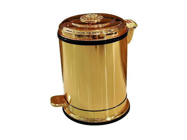 продам Ведро для мусора с педалью Art Design CH1501 Золото, 6л бу в Киеве