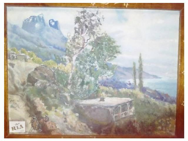 купить бу Крымский пейзаж приблизительно 1940 1950 года видно по самой картине изображение в Харькове