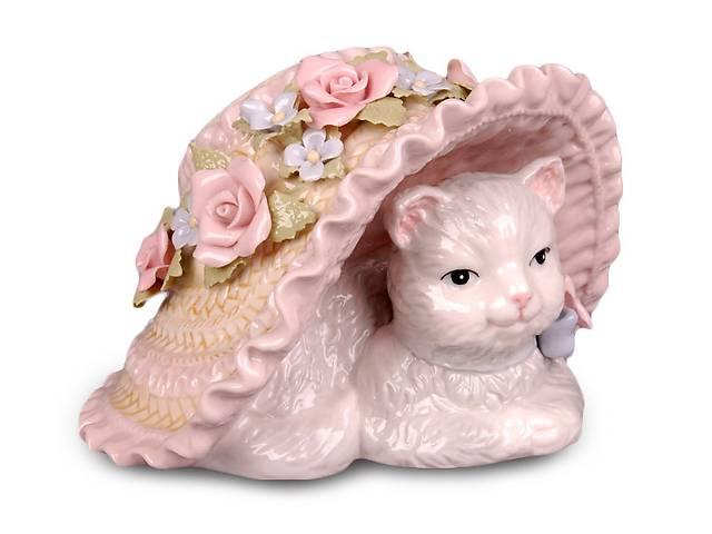 продам Музыкальная статуэтка Кошка в шляпе 9 см фарфор 461-140 бу в Одессе