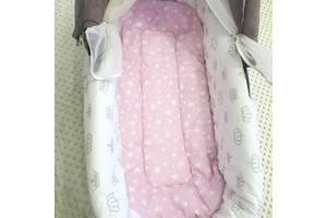 Нежно-розовый матрасик в коляску + Бортики  Art. tatu-704262532