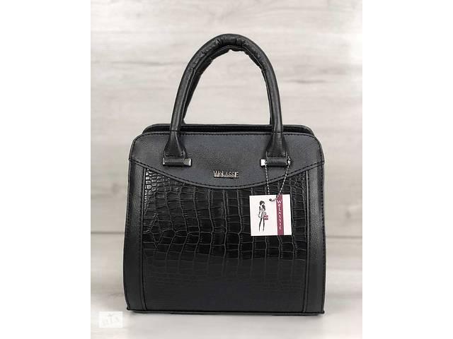 4dec9270ce0f продам Каркасная женская сумка Эбби черного цвета со вставками черный  крокодил бу в Киеве