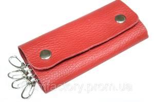 Ключница кожаная натуральная с тиснением и кардхолдером на 4 карабина/11х4.5см:Красный