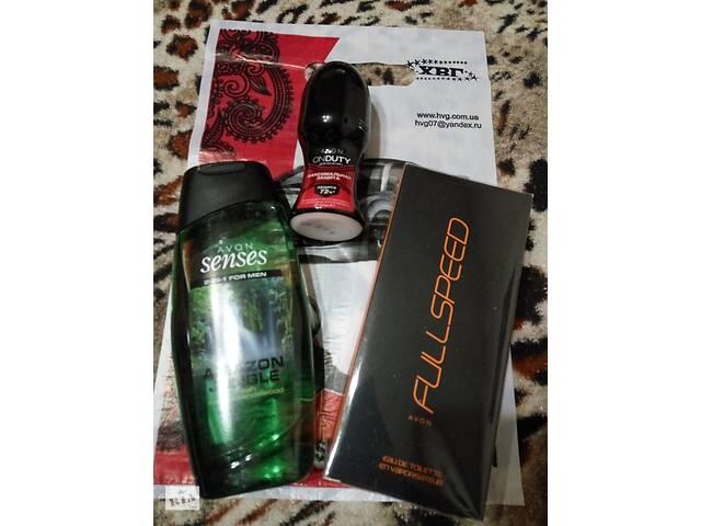 Мужской подарочный парфюмерный набор 3шт туалетная вода Avon Full Speed оранжевый 75мл, гель для душа Avon Senses, дезик