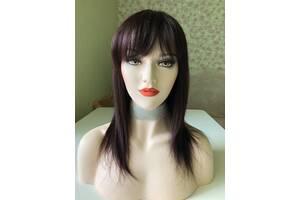 Натуральный парик волос баклажан с чёлкой, имитация на макушке