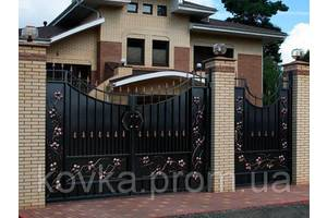 Металлические распашные въездные ворота с калиткой, код: К-0120