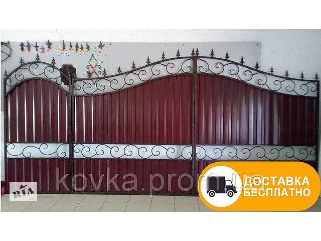бу Распашные ворота с калиткой и профнастилом, код: Р-0104 в Ладыжине