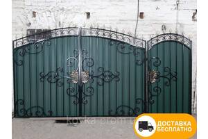Ворота с коваными элементами и профнастилом, код: Р-0198