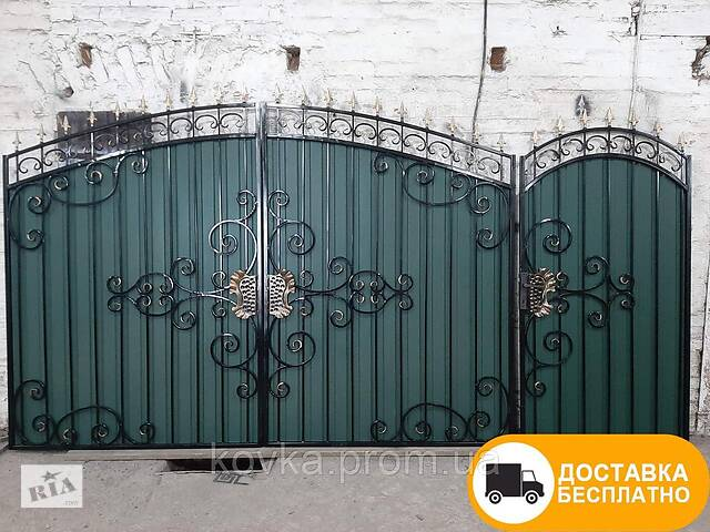 купить бу Ворота с коваными элементами и профнастилом, код: Р-0198 в Ладыжине
