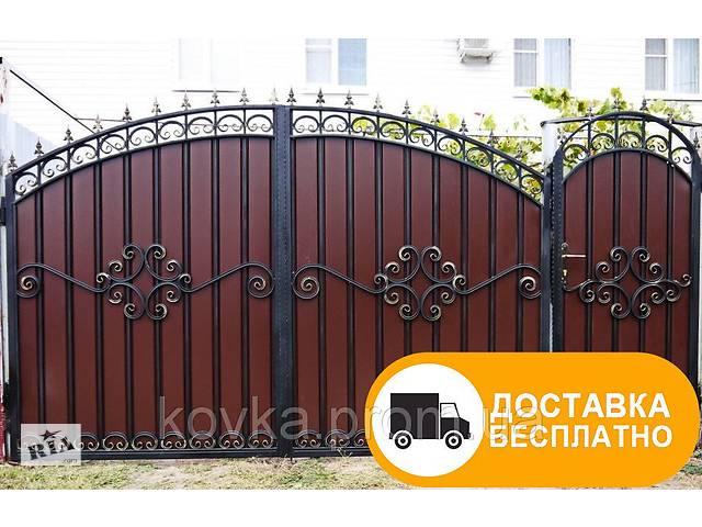 Ворота из профнастилом с коваными элементами, код: Р-0120- объявление о продаже  в Ладыжине