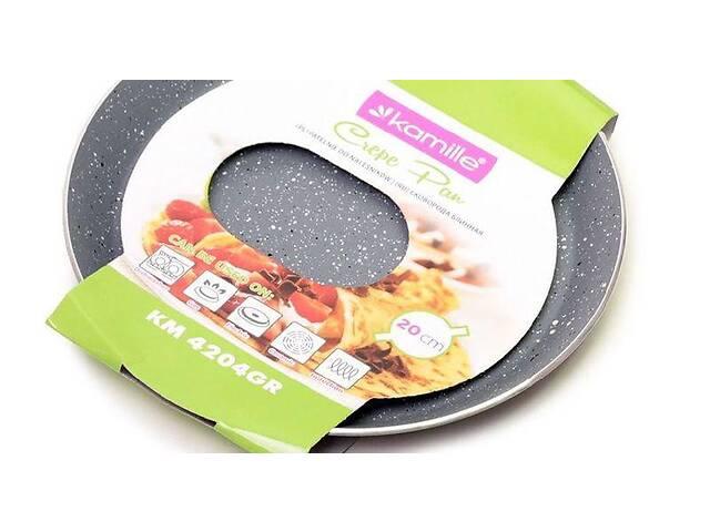 Блинная сковорода с гранитным антипригарным покрытием d=20 см Kamille KM-4204GR- объявление о продаже  в Киеве