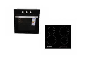 Комплект духовой шкаф электрический Grunhelm GDV 826 + индукционная варочная поверхность Grunhelm GPI 823 B