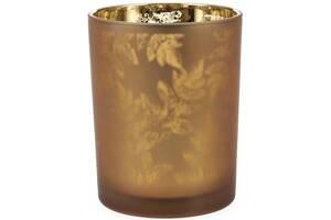Подсвечник стеклянный Листья 10х12.5см коричневый (psg_BD-549-133)