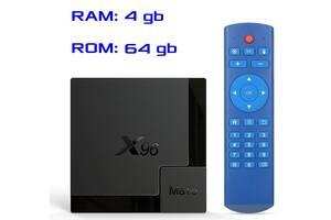Смарт ТВ приставка X96 MATE 4гб / 64гб на Андроид 10 для просмотра фильмов телевидения серфинга в интернете и игр