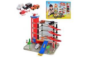 Игровой набор Паркинг детский гараж Play Smart JOY TOY 5 уровней, 4 машинки, 1 вертолет (0845-RT)